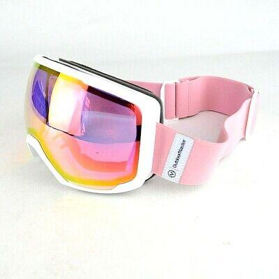 OutdoorMaster OTG Ski Goggles - Over Glasses Ski/Snowboard Goggles (White/Pink)
