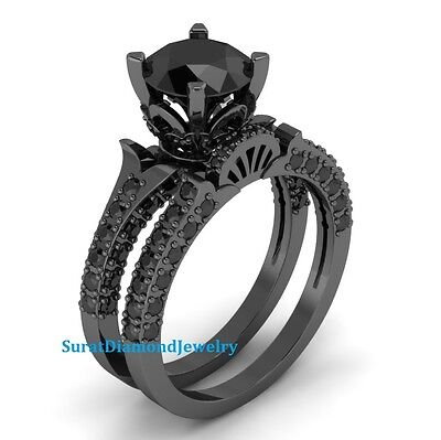 Certified 3 14Ct Black Diamond Engagement Ring Set Bridal Set Ring In 14K Gold