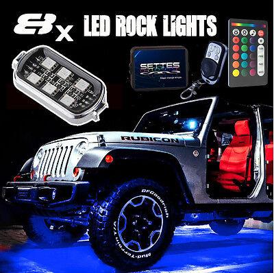 8pcs LED Rock Lights JEEP Wrangler Off-Road Glow Under Body Wheel Rig Lights