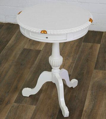 Runder BEISTELLTISCH ANTIK-weiß, Dreifuß COFFEE-TABLE, schöner MASSIVHOLZ TISCH