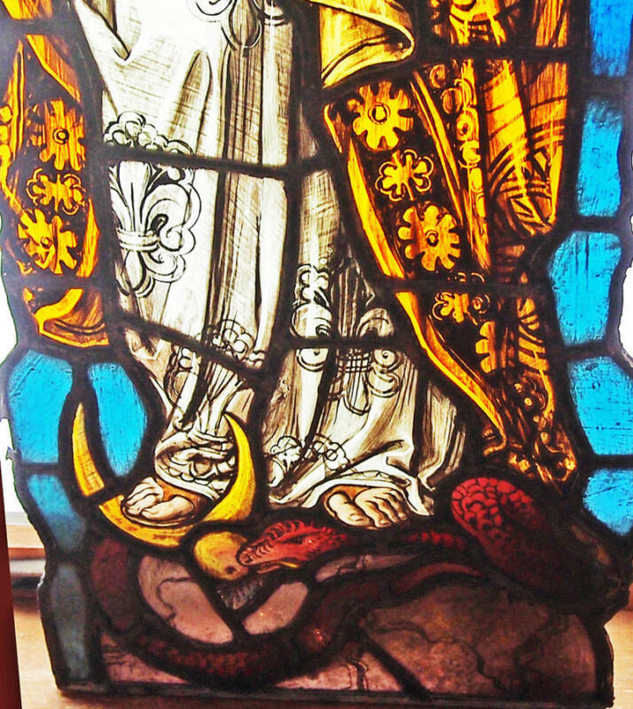 """18th C Stained Glass Window Serpent at feet of Saint fragment 23 1/2"""""""