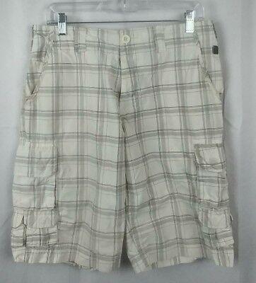 12 Pocket-cargo-shorts (Marc Ecko Cut & Sew Men's 11 Pocket Cargo Shorts Plaid White Grey 30~33