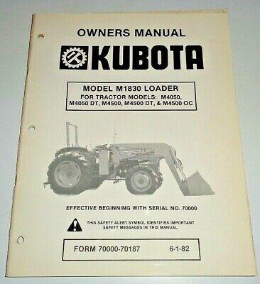 Kubota M1830 Loader Parts Owners Operators Maintenance Manual Original 682