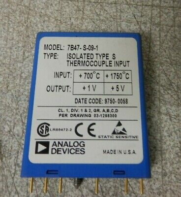 Analog Devices Model 7b47-s-09-1 Isolated Type S Thermocouple Input 7b47