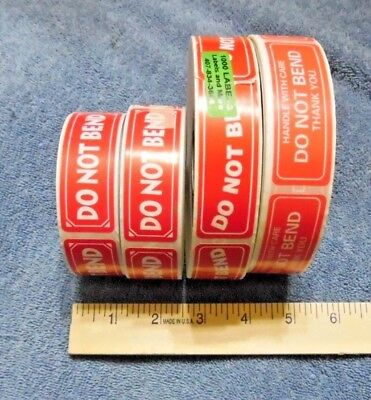"""3000 DO NOT BEND STICKERS &/or  HANDLE WITH CARE THANK YOU  1"""" x 3"""" stickers"""