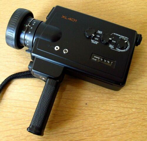 Minolta XL401 Super 8 Movie Film Camera w Rubber Hood & Strap Tested Great Cond