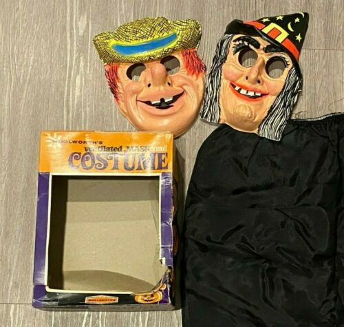 Vintage Halloween Masks Kids Witch & Hobo & Witch Skirt & Box Woolworth