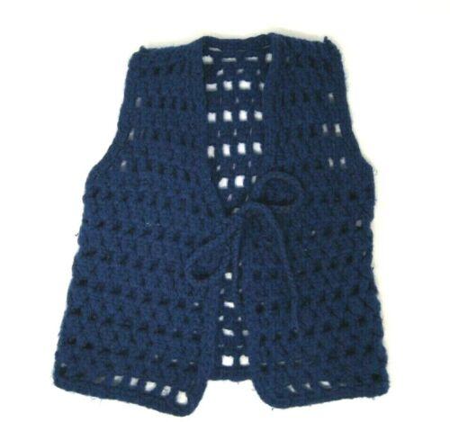 Vintage Handmade Crochet Vest Toddler Girls Boys 2 3 4 Navy Blue Boho Hippy