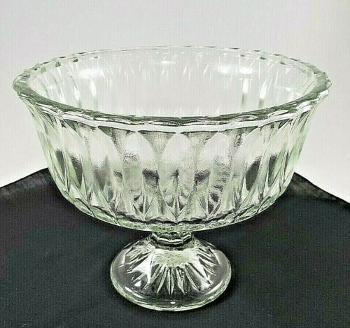Hoosier Glass Clear Dish Pedestal Compote Candy Footed Marked HG 4052 Vintage