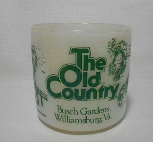 Vintage Old Country Bush Gardens Milk Glass Coffee Mug Cup Gordon Dragon Ness
