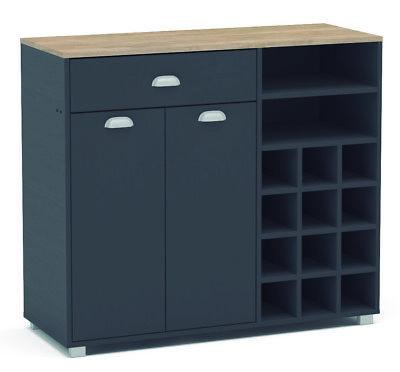 Buffet armario con botellero Asfeld gris grafito mueble cocina 101x90x40 cm