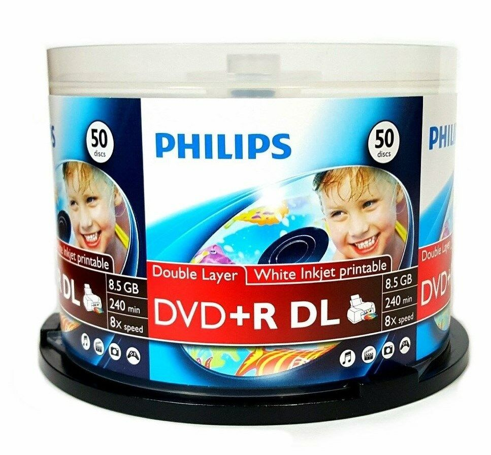 100 Philips 8x Blank Dvd+r Dl Dual Double Layer 8.5gb Whi...