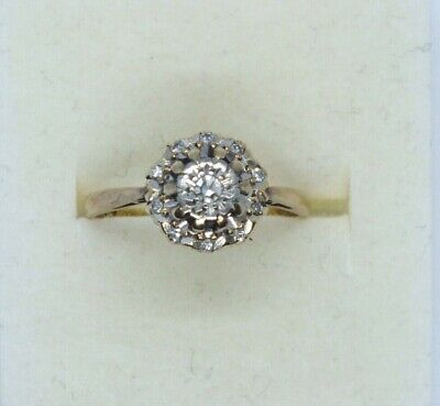 Vintage 9ct yellow gold Diamond cluster ring. Size J.