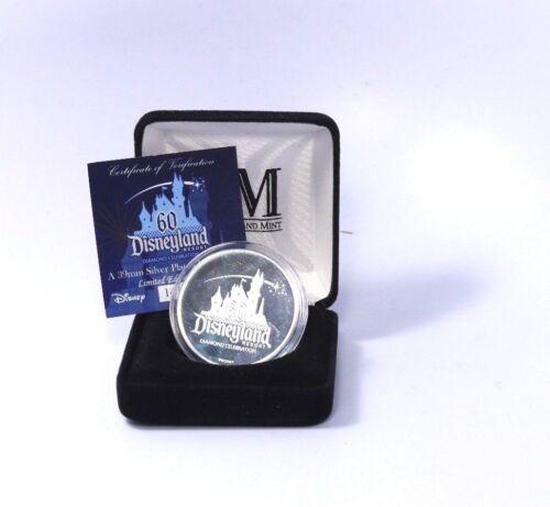 Disneyland Silver plated Coin, 1955-2015 Resort 60 Years Diamond Celebration COA