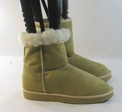 (Womens Camel Color Flat Comfortable Faux Fur Suede Winter Boots Size 10)
