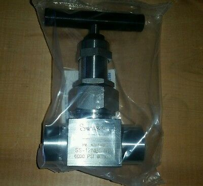Swagelok Pressure Stainless Steel Valve Ss-12nbsw8p Sw8p 6000 Psi 12 Npt New