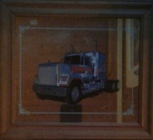 """Vintage transport  truck mirror in wood frame 27.5 """" by 15"""""""