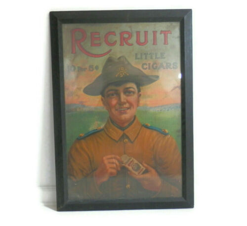 Antique Cigar Advertising Poster Military Theme Recruit Little Cigars w/Frame