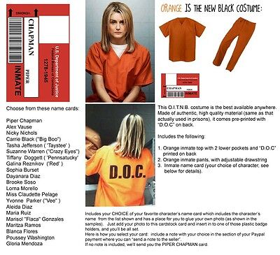 2 Orange is the New Black WOMENS 2 pc PRISON COSTUME Inmate Halloween U PIC SIZE - Orange The New Black Halloween Costume
