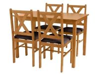 Ava Solid Oak Dining Table & 4 Chairs - Chocolate (New & boxed)