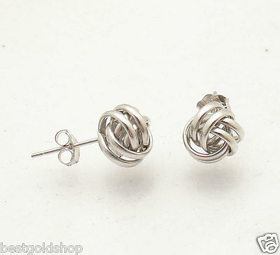 Polished Love Knot Rosa Rope Stud Earrings Real Solid 14K White (White Gold Love Knot Earrings)