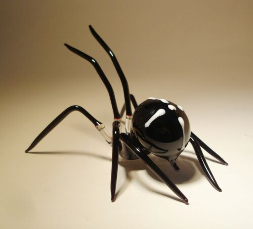 Blown Glass Figurine Art Insect Black with White Cross SPIDER