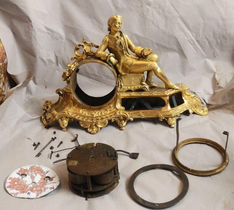 Antique French Gilt Figural Clock J Contour A Paris Porcelain Face silk thread