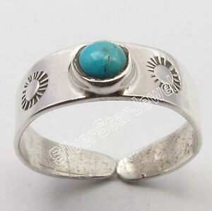 .925 Silver Natural Turquoise Gemstone Handmade Adjustable Artisan TOE RING