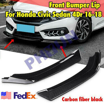 2X Carbon Fiber Look Car Front Bumper Lip Splitter Wrap Angle Splitters Spolier