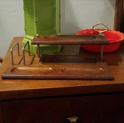 Vtg Mid Century Modern Wood Desktop Office Desk Organizer Wallet Coin Key Tray