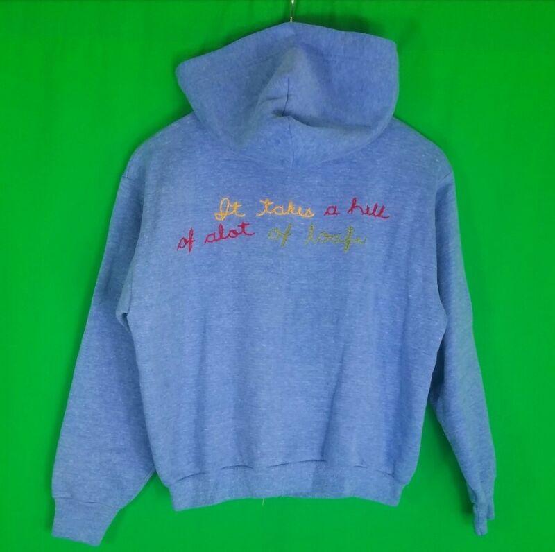 Vtg Velva Sheen Chain Stitch Hell Of Alot Of Loafe Hoodie Sweatshirt Jacket Blue