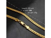 Women's mens 18k gold plated chain New
