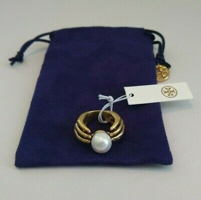Tory Burch Hand And Pearl Ring SZ 7
