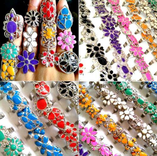 100 Vintage Women Girls Silver Tone Colorful Enamel Flower Rings Size Adjustable