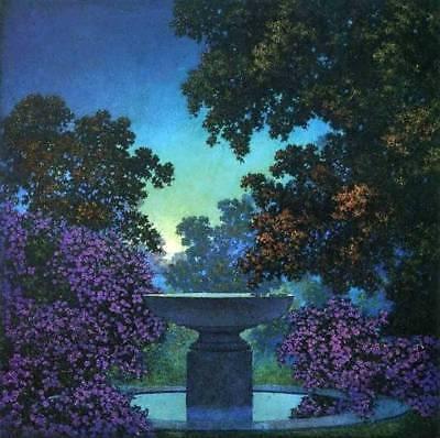 Night Garden Bath (Night Garden Purple Flowers Bird Bath by Maxfield Parrish )