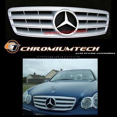 2000-2007 Mercedes C-Class W203 Berlina and Estate SILVER CHROME SPORT GRILLE