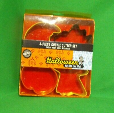 Wilton Halloween Cookie Cutter Set (4 NEW VINTAGE 2003 WILTON 2308-1060 4-PC METAL HALLOWEEN COOKIE CUTTER)