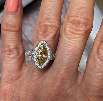 GIA 2.74Ct Marquise Fancy Brownish Yellow Diamond Engagement Ring 18k White Gold 4