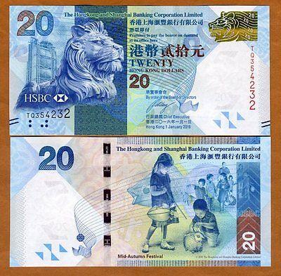 Hong Kong   20  2016  Hsbc  P 212 New  Unc   Lion  Children