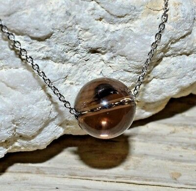 Crystal Smoky Quartz Necklace (Smoky Quartz Solitaire Necklace Irradiated Stainless Steel Chain Crystal Healing )