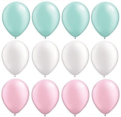 12 Pearl Mint Green White Pink 12