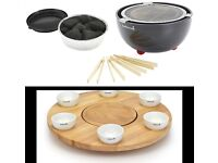 Indoor & outdoor Barbecook Joya TableTop BBQ cost £200 & rotating table & dip bowls NEW BOXED