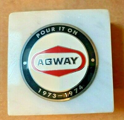 "Vintage AGWAY Metal on Marble Advertising ""Pour it On"" 1973-1974 Promo Rare"