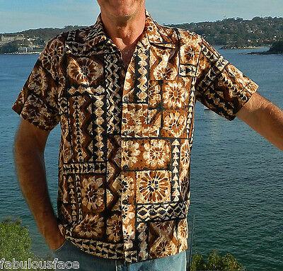 1970s Men's Shirt Styles – Vintage 70s Shirts for Guys VINTAGE Tiki Paradise 1970s Original Hawaiian Tribal Retro Fiji Sport Shirt $47.15 AT vintagedancer.com