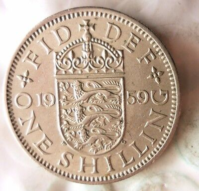 1959 GREAT BRITAIN SHILLING - Excellent Vintage Coin- FREE SHIP - Shilling Bin A