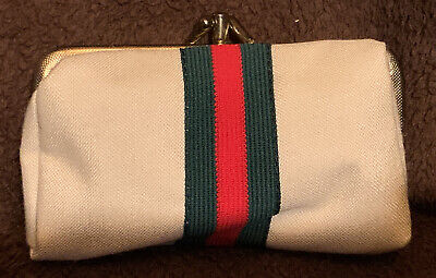 Vintage Sew Clutch Gucci Stripe Sewing Kit Travel Coin Purse Compact *COMPLETE