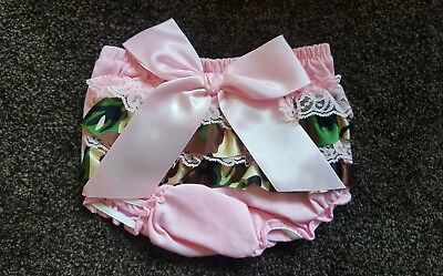 Brand New Baby Frilly Knickers Nappy Cover Pink Camoflage Print 0-6