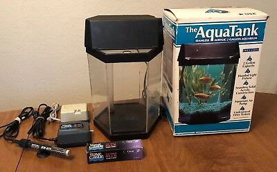 Vintage 1991 The AquaTank Seamless Acrylic 2 Gallon Aquarium Tank Kit W/Box