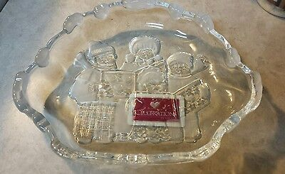 "Celebrations by Mikasa ""Carolers"" Gorgeous Glass Dish with Frosted Heart Design"