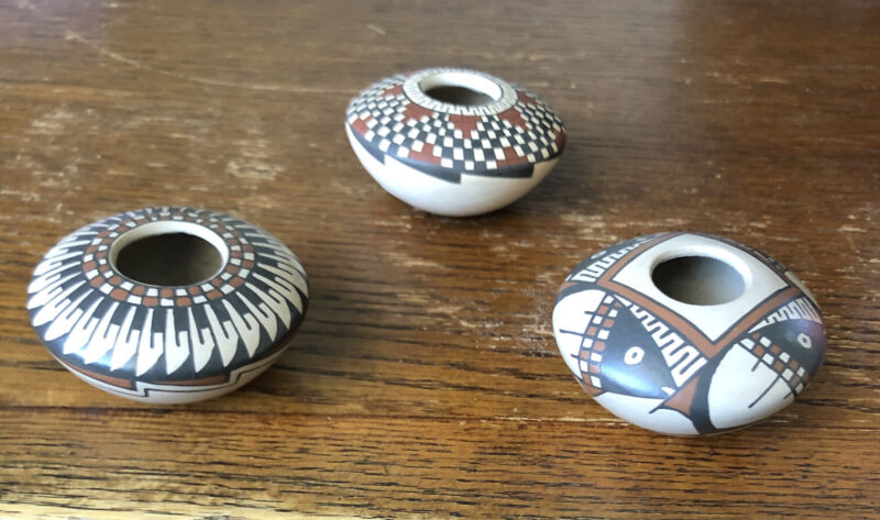 3 Mata Ortiz Seed Pots, Julio Mora